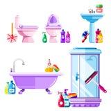 Ванная комната и чистка санитарного инженерства Вектор изолировал установленные значки иллюстрация вектора