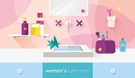 Ванная комната иллюстрации вектора для женщин Стоковое Изображение RF
