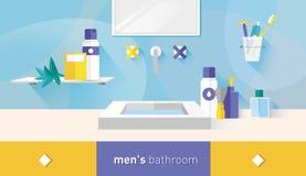 Ванная комната иллюстрации вектора для людей Стоковые Изображения