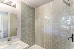 Ванная комната конструированная колодцем с мозаикой крыла стену черепицей стоковая фотография rf