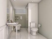 ванная комната перевода 3d винтажная зеленая Стоковые Фотографии RF