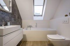 Ванная комната чердака с ванной Стоковые Фотографии RF