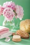 Ванна и курорт с цветками пиона чистят полотенца щеткой губки Стоковая Фотография
