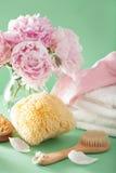 Ванна и курорт с цветками пиона чистят полотенца щеткой губки Стоковое Фото