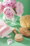 Ванна и курорт с цветками пиона чистят полотенца щеткой губки Стоковые Изображения RF