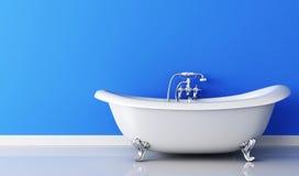 Ванна и faucet и голубая стена Стоковые Изображения RF