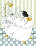 ванна принимая женщину Стоковое Изображение