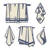 Ванные комнаты ткань, вектор значков полотенец комплекта иллюстрация штока