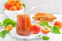 Варенье абрикоса в опарнике и свежих фруктах Стоковое фото RF