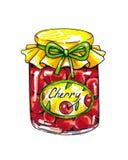 Варенье вишни в стеклянном опарнике изолировано на белой предпосылке Иллюстрации анимации Ручная работа отметки Стоковое Изображение RF