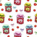 Варенье вишни в стеклянном опарнике на белой предпосылке Безшовная картина для конструкции Иллюстрации анимации Ручная работа отм Стоковое Изображение