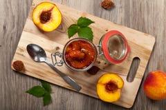 Варенье персика Селективный фокус Стоковая Фотография RF