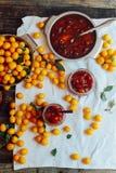 Варенье слив в малой чашке Домодельный пряный Мирабель, ренклод pl Стоковое фото RF