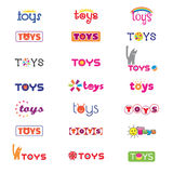 Варианты логотипов и значков на теме игрушек ` s детей вектор Стоковая Фотография