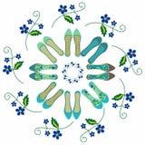 Варианты для ботинок женщин в романтичном стиле Стоковое Фото