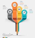 Вариант шага Infographics карандаша образования. Стоковые Изображения