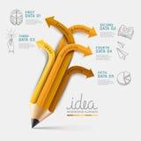 Вариант шага Infographics карандаша образования. Стоковое Изображение
