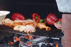 Варить в барбекю Очень вкусная еда в барбекю Перцы и цыпленок зажаренные в духовке в барбекю Еда лета Стоковые Фотографии RF