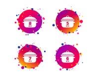 Варить значки лотка Чирей 5, 8 минут вектор бесплатная иллюстрация