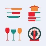 варить инструменты кухни установленные Стоковые Изображения