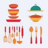 варить инструменты кухни установленные Стоковая Фотография