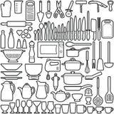 варить инструменты кухни установленные Стоковое Изображение
