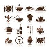 Варить и комплект значка кухни Стоковое фото RF
