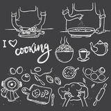 Варить кашевара влюбленности литерности i Нарисованная рукой еда doodle варя se иллюстрация штока