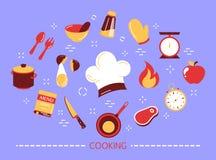 Варить концепцию Идея подготовки еды на кухне бесплатная иллюстрация