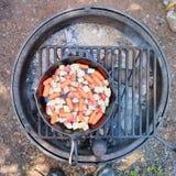 Варить морковей и картошки на лагерном костере Стоковое Изображение
