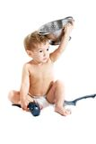 варить над белизной малыша Стоковое Изображение