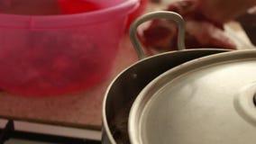 Варить обедающий Что-то кипеть в воде в лотке металла в кухне Пар приходя вне На предпосылке отрежьте мясо с акции видеоматериалы