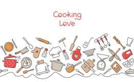 Варить плоскую горизонтальную безшовную картину Текстура утвари кухни и мультфильма прибора иллюстрация вектора