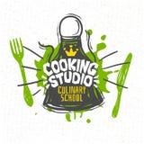 Варить студию, кулинарная школа, классы, логотип, утвари, рисберма, вилка, нож, крона бесплатная иллюстрация