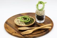 Варить, хлопья, кухня, ложка, диета, сырцовая, зеленый цвет Стоковые Изображения RF