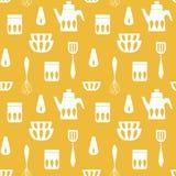 Варить monochrome повторяющийся предпосылку для кухни бесплатная иллюстрация
