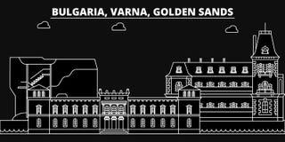 Варна, золотой горизонт силуэта песков Болгария - Варна, золотой город вектора песков, болгарская линейная архитектура иллюстрация вектора
