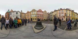 Варшава, Польша - сферически панорама 2018 3D с углом наблюдения 360 градусов старого городка Подготавливайте для виртуальной реа стоковая фотография rf