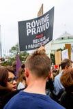 Варшава, Польша, 2016 10 01 - опротестуйте против закона f анти--аборта Стоковое Фото