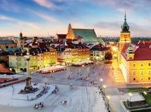 Варшава, старый городок Варшава, Польша во время захода солнца стоковое изображение rf