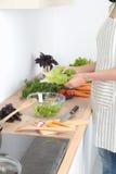 варящ вырезывание огурца съешьте женский портрет жизни кухни дома девушки подготовляя довольно усмехаться что-то стоя к детенышам Стоковые Фотографии RF