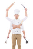 Варящ концепцию - молодой человек в форме шеф-повара с держать 6 рук Стоковые Фото