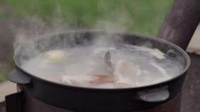 Варящ суп рыб outdoors, на поверхности пены воды и обильного пара, лето сток-видео