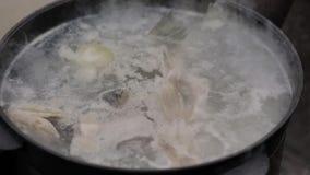 Варящ суп рыб outdoors, на поверхности пены воды и обильного пара, лето акции видеоматериалы