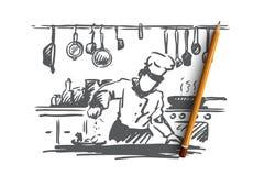 Варящ, шеф-повар, еда, концепция еды Вектор нарисованный рукой изолированный иллюстрация штока