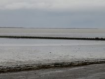Ватт, песок и вода северного моря в моли Германии norddeich стоковые фотографии rf