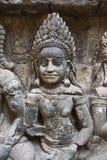 Ватт Angkor - стены руин виска Prohm животиков города кхмера Angkor Wat - заявите памятник стоковые фотографии rf