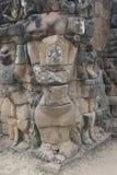 Ватт Angkor - стены руин виска Prohm животиков города кхмера Angkor Wat - заявите памятник стоковое фото rf