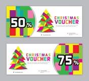 Ваучер рождества, шаблон знамени продажи, горизонтальные плакаты рождества, карты, заголовки иллюстрация вектора