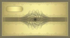 ваучер guilloche золота Стоковое фото RF